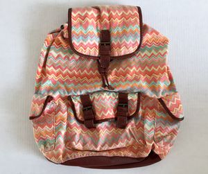 Claire's Canvas Leather Backpack Classic Retro Pink Orange Teal Bag Purse Handbag for Sale in Tempe, AZ