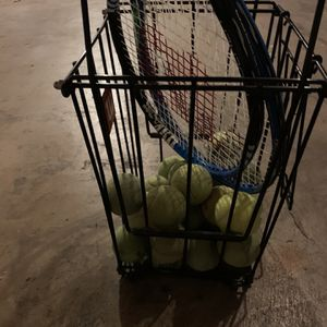2 Tennis Rackets With Balls And A Ball Cart. 3 Tennis Bags Included for Sale in Fullerton, CA