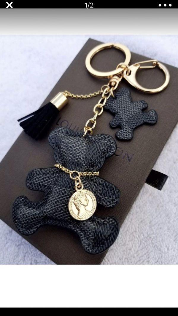 Black Checkered Bear Handbag Charm Brand New
