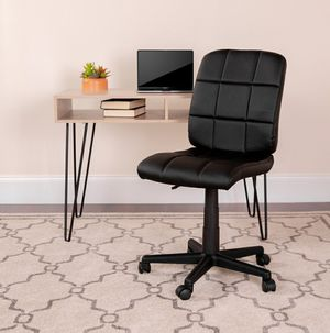 Black Quilted Armless Rolling Office Chair for Sale in ROWLAND HGHTS, CA