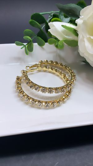 925 Sterling Silver Post 5.5cm Big Circle Shiny Crystal Hoop Earrings, Gold Color for Sale in Los Angeles, CA