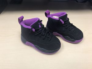 Jordan Nike air purple and black toddlers baby toddler size 5C - tennis shoes zapatos tenis para bebé niño niña for Sale in Anaheim, CA