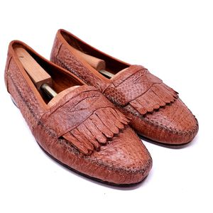 David Eden Men's Penny Loafers Brown Ostrich Leather Kiltie Dress Shoes Italy Size 11 for Sale in Huntington Beach, CA