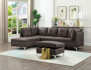 Modern Chocolate Fabric Sectional and Storage Ottoman *BRAND NEW* for Sale in Washington, DC