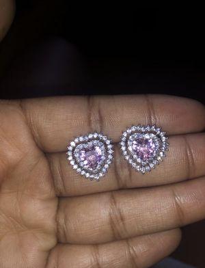 Pink diamond heart shaped earrings for Sale in Thornton, IL
