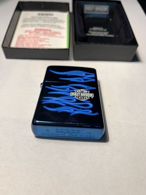 Harley Davidson zippo lighter blue whit flames for Sale in Ocean Township, NJ