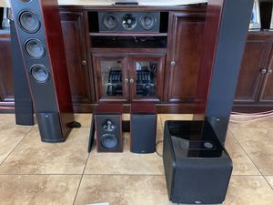Cherry wood Klipsch theater speakers. 2000watts. They come with heavy gauge speaker wire and banana clips, and subwoofer cord. Very good condition. A for Sale in Gilbert, AZ