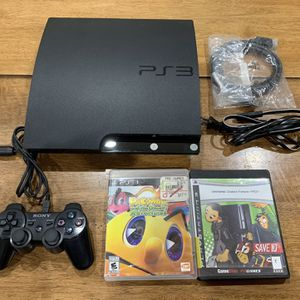 Sony PS3 Slim 160GB Video Game Console CECH-2501A w/ Controller Cords & 2 Games for Sale in Newark, CA