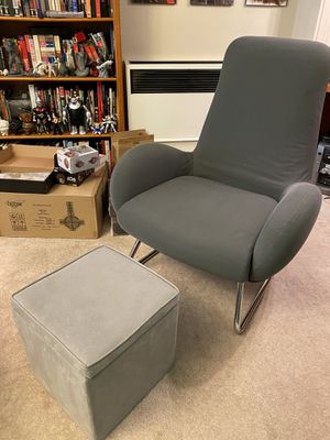 Grey Armchair with Storage Ottoman for Sale in Alameda, CA