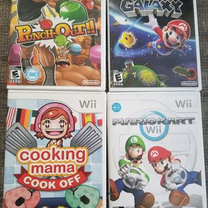 4 Nintendo Wii Games: Mario Kart, Super Mario Galaxy, Punch Out!!, and Cooking Mama for Sale in Redmond, WA