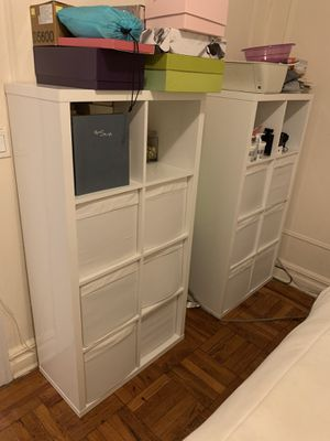 Shelving Unit - with white storage bins for Sale in Brooklyn, NY