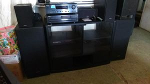 Onkyo 1000 watt home theater system and shelving unit 8 speakers for Sale in San Diego, CA