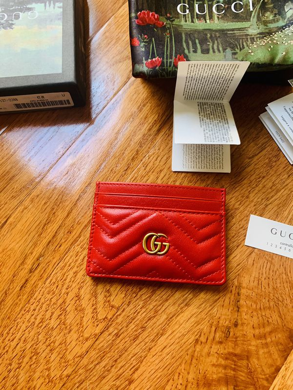 Gucci Signature Red GG Marmont Leather Card Case Card Holder w/Box