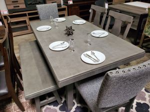 6 PC Dining Set with bench and Chairs, Grey for Sale in Santa Fe Springs, CA