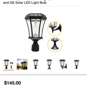 GAMA SONIC Victorian Bulb Series Single Black Integrated LED Outdoor Solar Lamp with 3-Mounting Options and GS Solar LED Light Bulb for Sale in Houston, TX