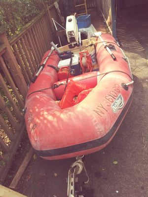 10 foot inflatable boat three and a half horse motor for Sale in Stamford, CT