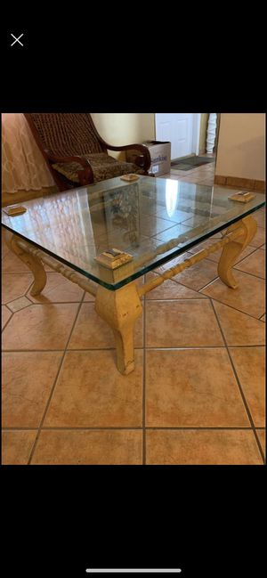 Antique Glass and wood coffee table for Sale in Pembroke Pines, FL