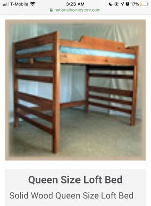 Queen loft bed - was custom made to order for Sale in Concord, MA