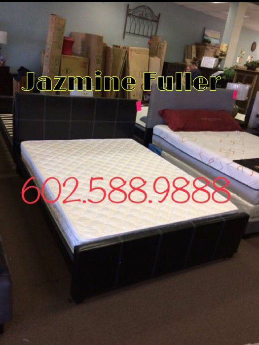 Queen Size Platform Bed Frame With Mattress Included For