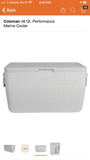 New New package:: Coleman 48 Qt. Performance Marine Cooler home Depot cost $33 with tax. now only $25 dls firm this new for Sale in Hesperia, CA