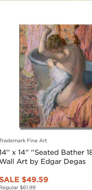 Famous Degas print of a bathing lady circus 1890's framed in teal good condition and bought in 1980' from a gallery for Sale in Costa Mesa, CA