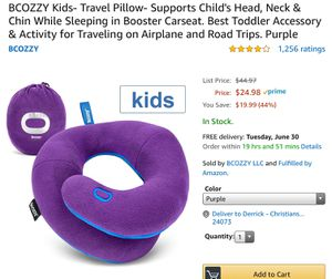 BCOZZY Kids- Travel Pillow- Supports Child's Head, Neck & Chin While Sleeping in Booster Carseat. Best Toddler Accessory & Activity for Traveling on for Sale in Christiansburg, VA