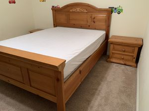 Queen size bed frame, night stand, mattress and box spring for Sale in El Cajon, CA