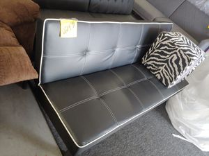 Beautiful black and white leather like three position futon sofa $179.99 for Sale in Phoenix, AZ