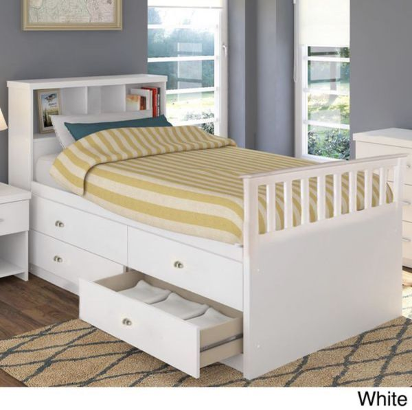 White Twin bed frame with shelves and drawers