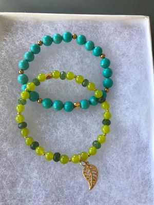 Peridot jade and and turquoise bracelets with leaf charm for Sale in Stockton, CA