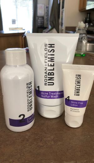Rodan and Fields Unblemish #1 Acne Sulfur Wash, #2 Clarifying Toner and #4 shine free lotion for Sale in Mesa, AZ
