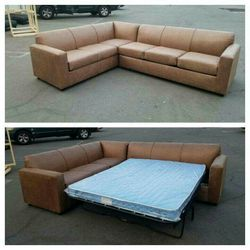 NEW 7X9FT CAMEL LEATHER SECTIONAL WITH SLEEPER COUCHES for Sale in La Mesa,  CA