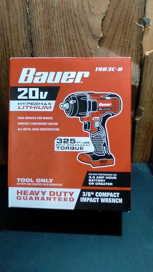 "Bauer's 3/8 "" Impact 20V HyperMax Lithium for Sale in Little Rock, AR"