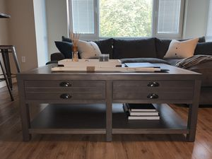 Grey Washed, Wood Finish Coffee Table w/ Storage for Sale in Seattle, WA