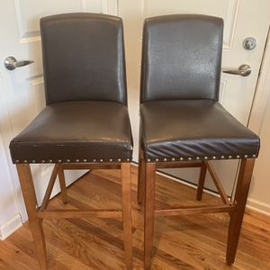 2 Brown Leather Bar Stools With Nailheads for Sale in Manalapan Township, NJ
