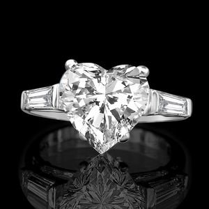 4 CT. Intensely brilliant Heart Simulated Diamond-diamond Veneer W/side Baguettes Settings Simulated Diamond Engagement Sterling Silver Ring 635R71352 for Sale in San Diego, CA