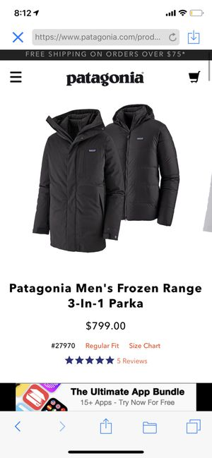 Patagonia Men's Frozen Range 3-in-1 Parka for Sale in Philadelphia, PA