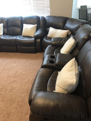 Red Barrel Studio Brown leather sectional with 4 recliners for Sale in Elk Grove, CA
