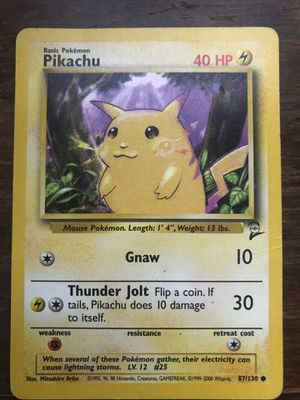 Rare 1995 Pikachu Pokemon Card 87/130 for Sale in Murfreesboro, TN