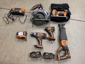 Ridgid Power Tools Kit Cordless Drill impact light saw for Sale in South El Monte, CA