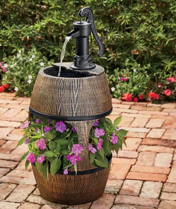 Outdoor Garden, Plant Holder Whimical Barrel With Pump Handle Whiskey Style