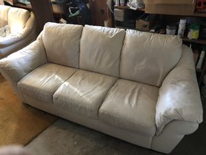 White leather couch and love seat for Sale in Beltsville, MD
