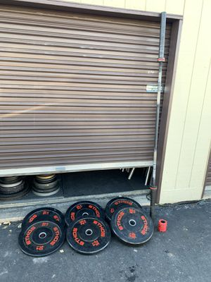 Ethos Olympic rubber bumper set & barbell for Sale in Parker, CO