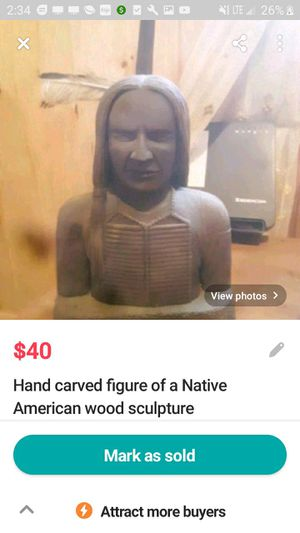 Hand carved figurine of a Native American from a gallery from a famous artist in Arizona for Sale in Brainerd, MN