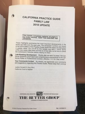 California Family Law Practice Guide 2018 for Sale in San Diego, CA