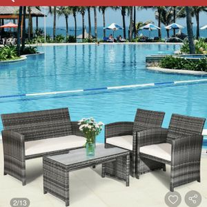 New 4-Piece Wicker Rattan Patio Conversation Set Chair with Beige Cushions for Sale in Hacienda Heights, CA