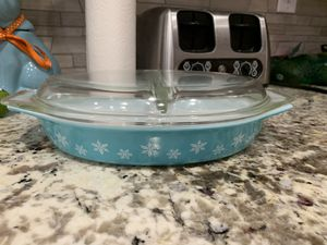 Pyrex blue snowflake divided dish for Sale in Long Beach, CA