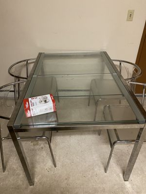 Glass dining table with four seats free! Picked up today for Sale in Portland, OR