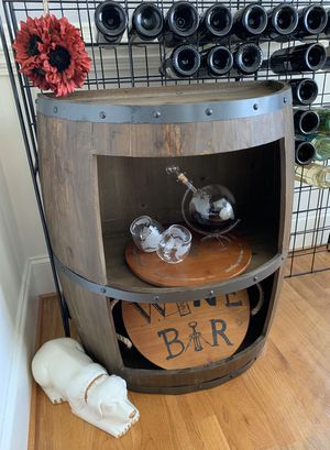 1/2 Wine Barrel Wooden Storage Cabinet with 3 shelves and a flat back - wine bar for Sale in Charlotte, NC