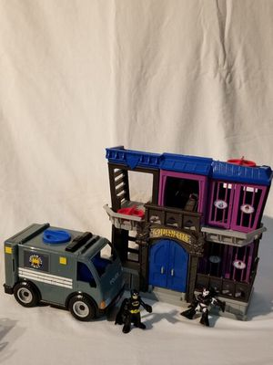 Imaginext Gotham City Jail Playset With Batman and Ironman Figures and Gotham City S.W.A.T. Van for Sale in Hialeah, FL